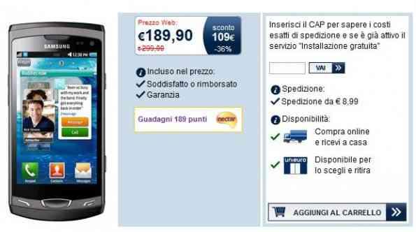 FuoriTutto Uniero, Samsung Wave II S8530 a 189€