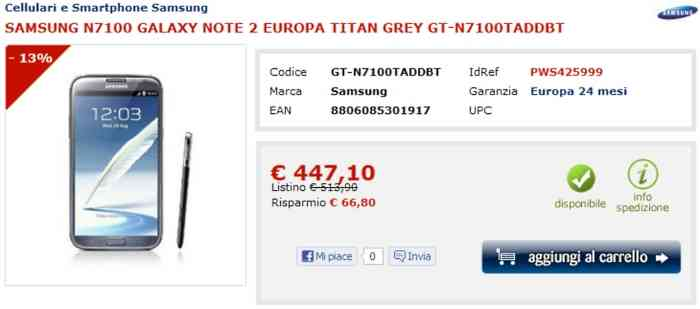 Offerta-Samsung-Galaxy Note 2